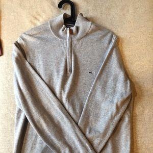 Vineyard Vines Cotton 1/4 Zip Sweater Grey